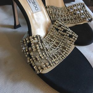 Gorgeous JIMMY CHOO crystals shoes 39 satin black